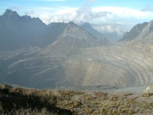 The 11-square mile open pit copper mine in Papua. The mine produces 5% of all global copper. Photo by Alfindra Primaldhi. Used with permission