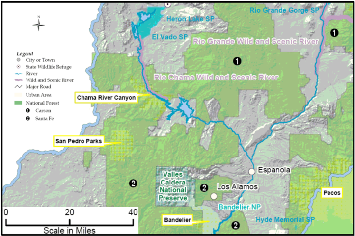 Rio Chama from Heron Lake to Española. Map by Wikimedia Commons
