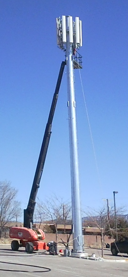 A new antenna tower goes up (February 23, 2013) near the corner of Richards and Cerrillos.