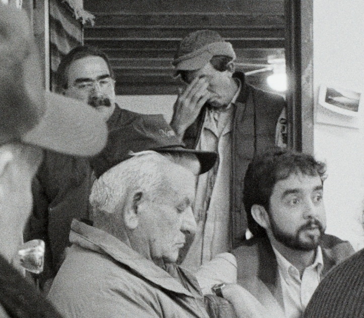 1996 Truchas meeting: in back on the left, community organizer Santiago Juarez; in front on the right, Ruben Montes, aide to Senator Pete Dominici.