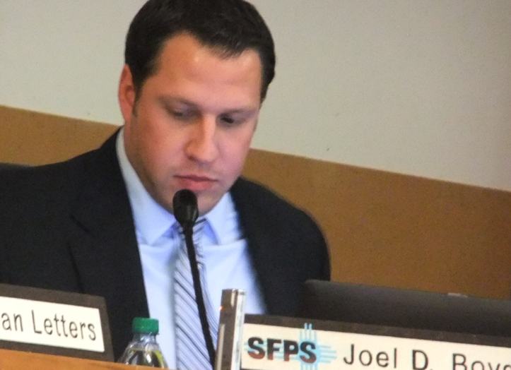 """Joel Boyd, Superintendent of Santa Fe Schools, agreed to """"look into"""" removing the cellphone antennas already in place at Santa Fe High School."""