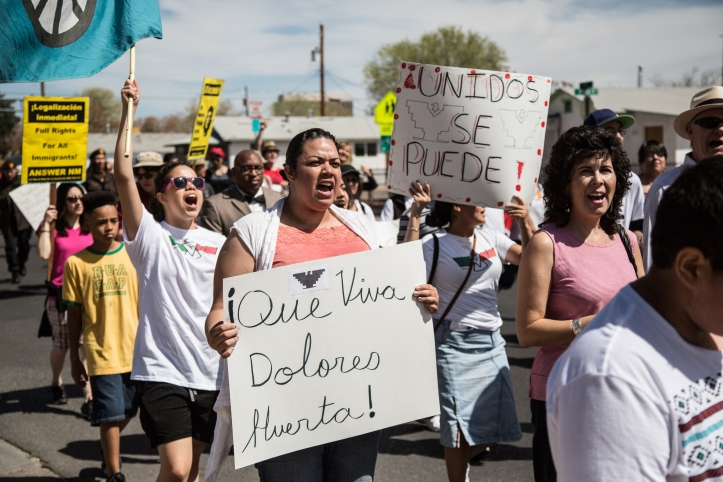 "Chants of  ""¡Que Viva Dolores Huerta!"" echoed thorughout downtown Albuquerque"