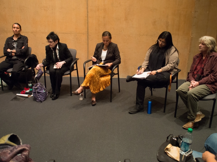 The program concluded in the evening with a roundtable panel of scholars, activists and authors who discussed John's legacy and their current work around social and environmental justice. (Left to right) Klee Benally, Roxanne Dunbar-Ortiz, Nicole Horseherder, Laura Harjo, and Kay Matthews.