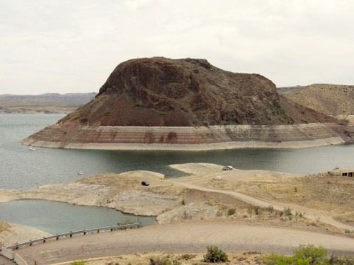"Dropping water levels at the base of the so-called ""elephant"" that names Elephant Butte Dam. http://otrwjam.wordpress.com photo"