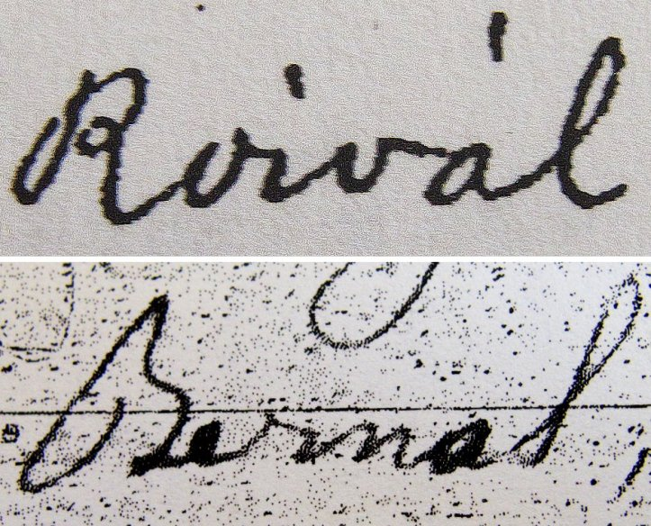 Examples of the names Bernal and Roival (Roybal) as they appear on documents contemporary with the 1863 Trujillo deed. Could the county recorder taken one for the other? According the the record book, the previous deed he copied that day included the name Bernal.