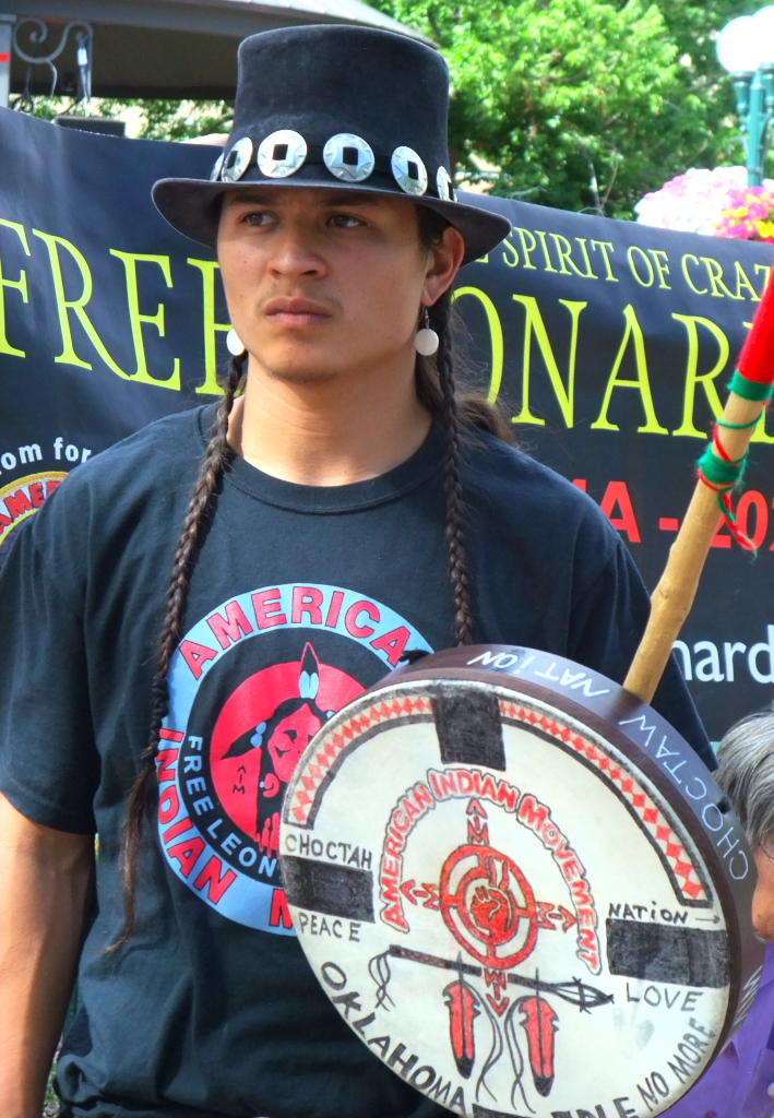 Visiting from Oklahoma, Idle No More activist Hatuk Hill (Choctaw Tribe) led the round dance on the Santa Fe plaza.