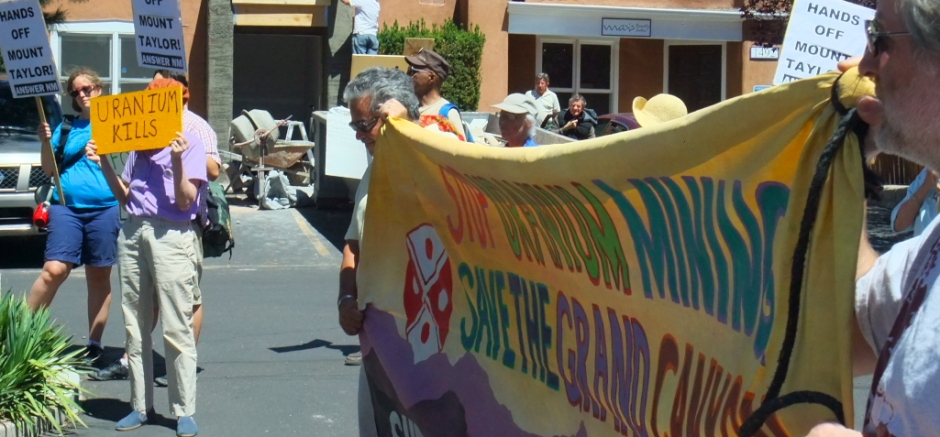 "A banner reading ""Save the Grand Canyon"" brought to a Santa Fe protest by activists working to shut down Energy Fuel's Canyon Mine in Arizona: today more than ever, anti-nuclear politics is all about solidarity."