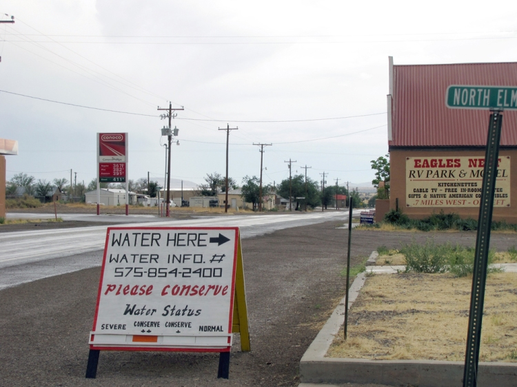 Sign in front of the volunteer fire department where water is available to Magdalena residents