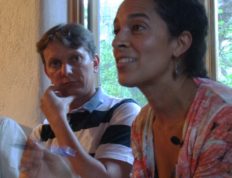 Sara Mersha of Grassroots International, right, translates for Leonardo Maggi of Brazil's Movement of People Affected by Dams. Photo by Eric Shultz