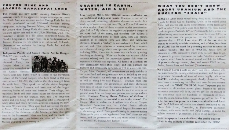 Mama Bears Brigade brochure for Canyon Mine protest (recto): click to enlarge.