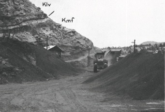 A view of the Clod Buster humate mine near Cuba in 1974. Despite the fact that the New Mexico Environment Department cited Clod Buster for groundwater pollution in 1999, the new humate mining regulation would make this strip mine exempt from environmental regulation. Source: NMGS