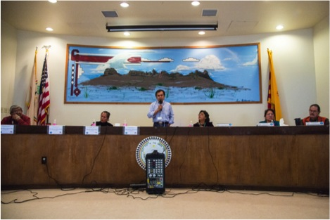 Seated left to right: Diné medicine man Henry Barber, Diné medicine woman Marie Salt, Diné medicine man Philmer Bluehouse, NNHRC commissioner Jennifer Denetdale, NNHRC commissioner Valerie Kelly, and NNHRC chair Steve Darder. Photo by Nick Estes.