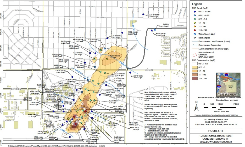 This Air Force-created map defines the known limits of EDB-contaminated groundwater. Citizens Action New Mexico, however, has criticized the map as possibly overconfident in its depiction of the current location of EDB, noting that EDB has been present in groundwater for more than 40 years and could have migrated beyond the boundaries defined on the map. In addition, KAFB has yet to complete studies of the aquifer--In other words, its hydrologists don't fully know the hydrological properties of the aquifer and thus can't yet model the movement of toxic contamination underground.