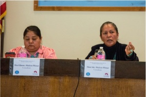 Diné medicine woman Marie Salt (right) gave testimony about the complexities of traditional Navajo stories about gender and sexuality. To her left is fellow Diné medicine woman Rita Gilmore. Photo by Nick Estes