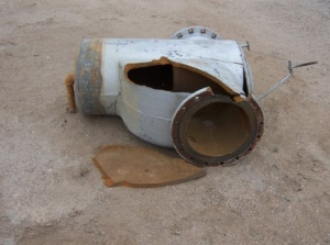 A portion of jet fuel pipeline following the 1999 pressure test. Source: Citizen Action New Mexico