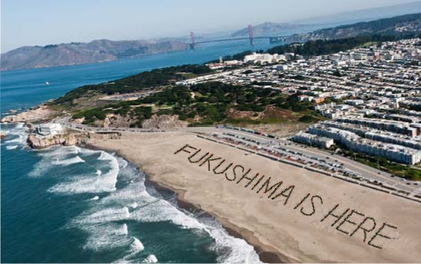 Protestors form words with their bodies on a San Francisco Beach, organized by Fukushima Response: http://www.fukushimaishere.info/