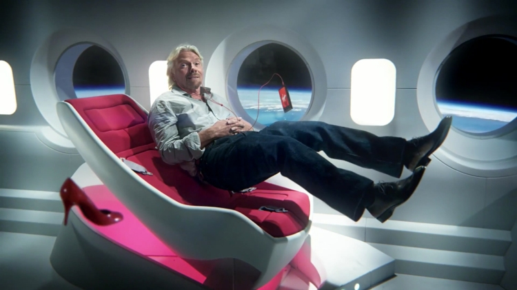 A publicity shot promoting Branson's Virgin Galactic enterprise.