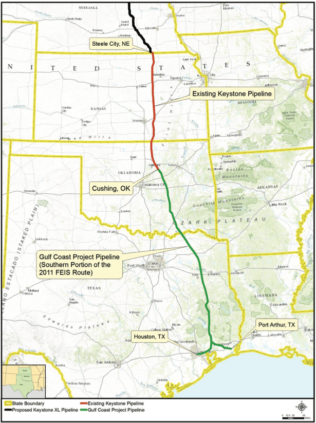 Existing KXL Pipeline, or the Gulf Coast Project Pipeline, stretches from Cushing, OK to Houston and Port Arthur, TX. The Gulf Coast Project Pipeline was completed in 2011.