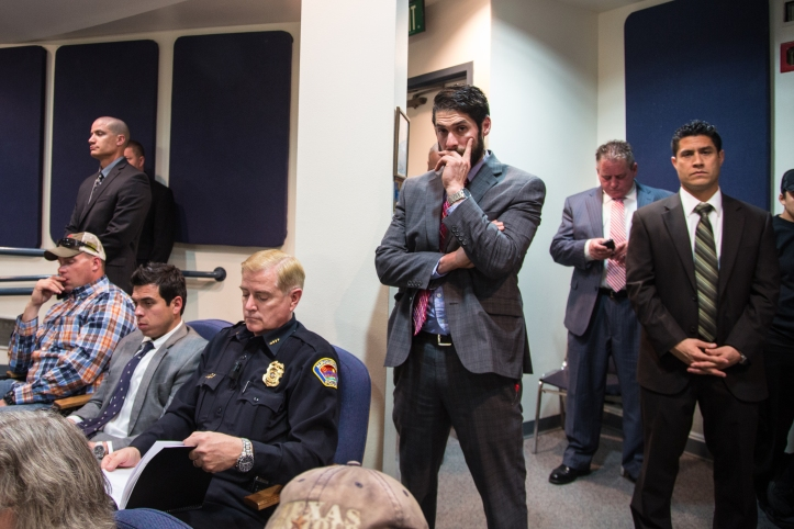 "Although Mayor Barry was not present at Wednesday's meeting, Police Chief Gordon Eden did attend and sat in the back of the council chambers surrounded by an entourage of men who identified themselves as ""detectives."""
