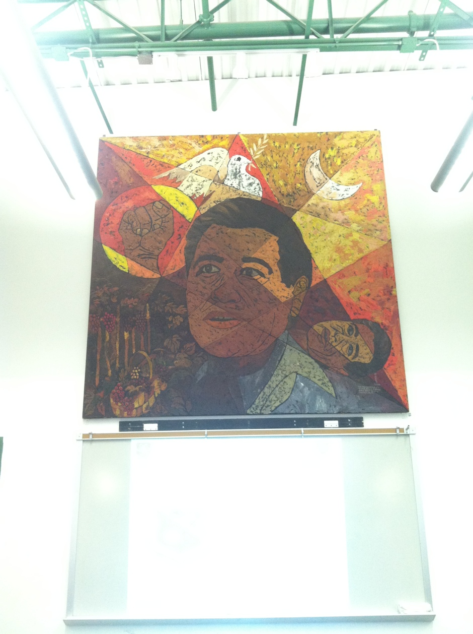 The mural of Cesar Chavez on the wall of the meeting room in the Community Center where CAB meetings are held. Photo by Willa Correia-Kuehn