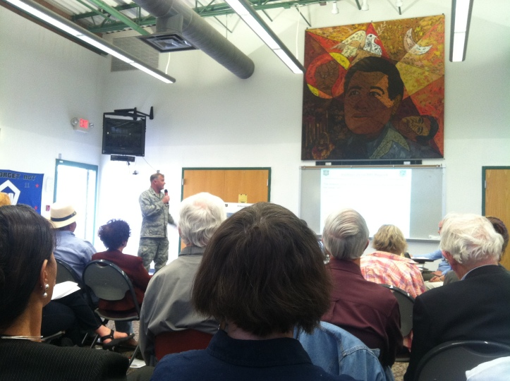 KAFB Colonel Lanning making opening remarks at Tuesday's Citizen's Advisory Board. Photo by Willa Correia-Kuehn