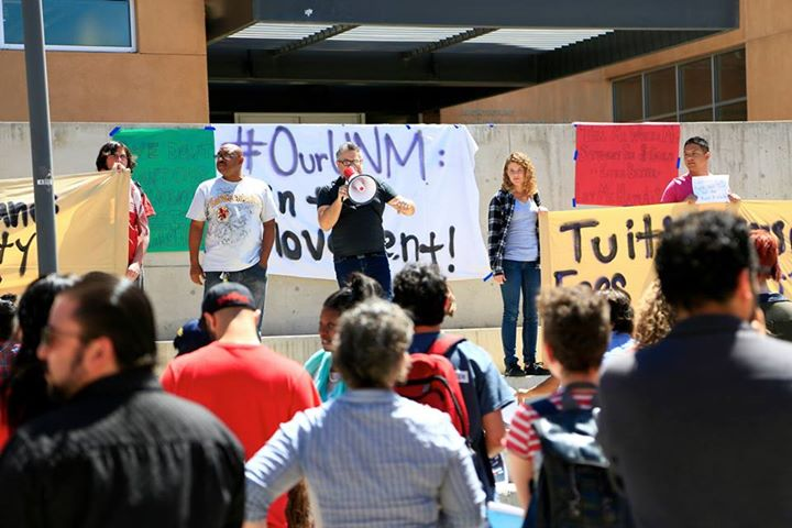 OurUNM organizers began the press conference on the steps across from the UNM bookstore