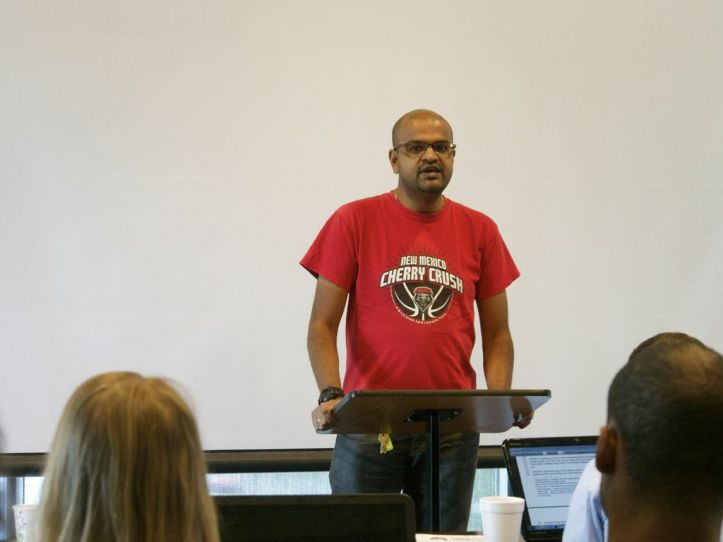 """Communications and Journalism PhD student Santhosh Chandrashekar told the GPSA council: """"As a member of the third world, I believe that we won't be free until Palestine is free."""""""