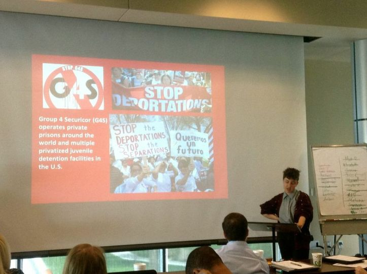 """American Studies Master's student and GPSA representative Lissie Perkal presented the resolution. """"Each university that passed a divestment resolution makes it unique to their own concerns. So does ours,"""" she stated in reference to Israeli corporations policing and surveillance of Palestinians that extends to the policing and surveillance of undocumented UNM students."""