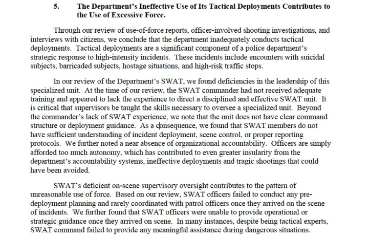 The DOJ report was highly critical of APD's SWAT unit, devoting two pages of the 46-page report to failures in SWAT leadership, and tactical effectiveness, concluding that SWAT often fails to resolve crises. Above, the section on SWAT beginning on page 35 of the report.