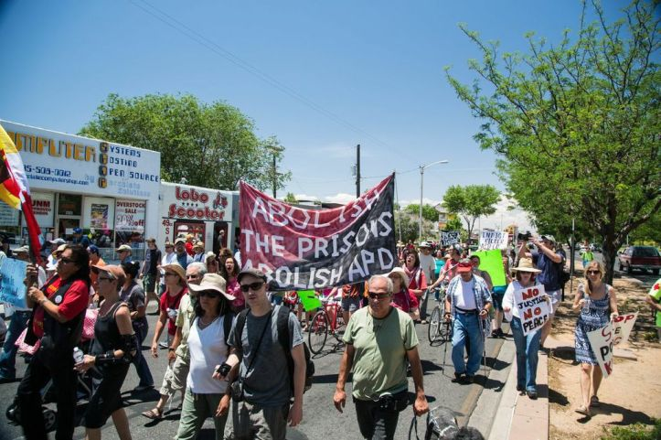 Many participants held signs and chanted slogans that called for the abolition of prisons.