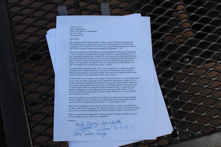 Mike Gomez, Sylvia Fuentes, Isaac Mitchell, Ken Ellis and Nora Tachias Anaya signed the letter.