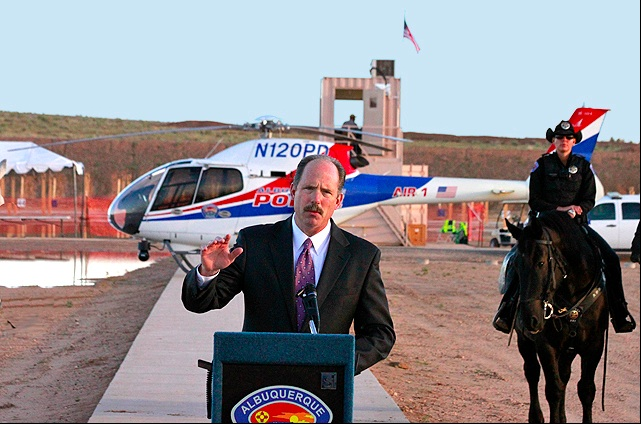 Mayor Berry welcoming competitors to the 2013 NRA National Police Shooting Championships. He recently negotiated an extension with the National Rifle Association keeps the National Police  Shooting Competition in Albuquerque until at least 2017