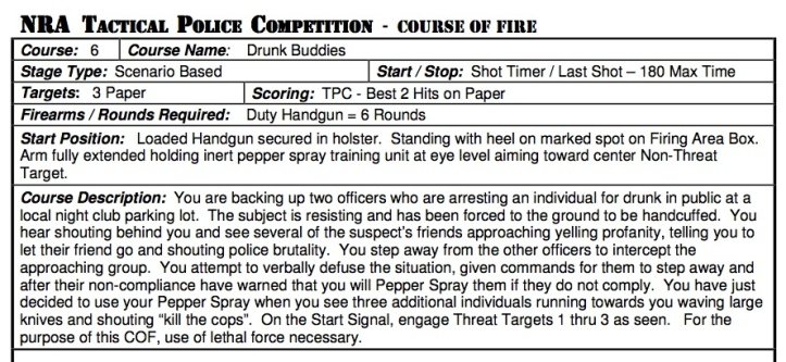 "Instructions for ""Drunk Buddies"", a scenario delivered to competitors at the Tactical Police Competition held in Albuquerque next month"