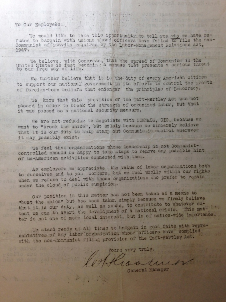 Kennecott Copper Company managers sent this letter to union members during an early 1950s labor conflict. Source: University of Colorado, Boulder; Norlin Library Archive; WFM/IMMSMU collection