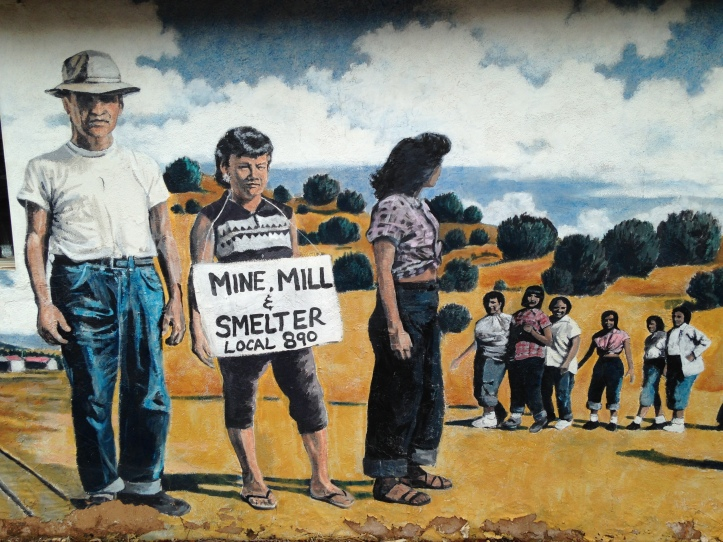 The mural, painted on the side of the former union hall of Mine-Mill Local 890, commemorates generations of labor activism in Southern New Mexico. Photo by David Correia