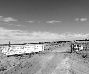 Signs defending the rights of Diné sheepherders to graze traditional lands on Black Mesa. Photo courtesy of Black Mesa Indigenous Support