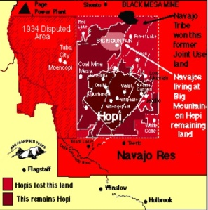 Hopi Rangers are impounding sheep from Dine families throughout the disputed Big Mountain region. Map Source: Paula Giese