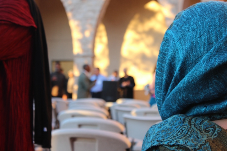 The Islamic Center prepared seating for a short program.