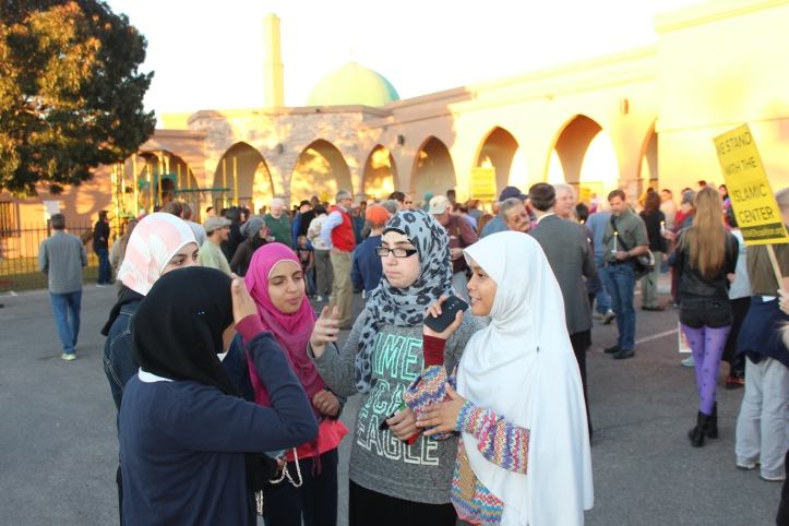The march ended at the Islamic Center, where more than 100 people waiting to greet them.