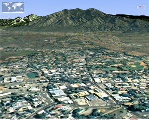 The town of Taos pushing up against the Sangre de Cristos