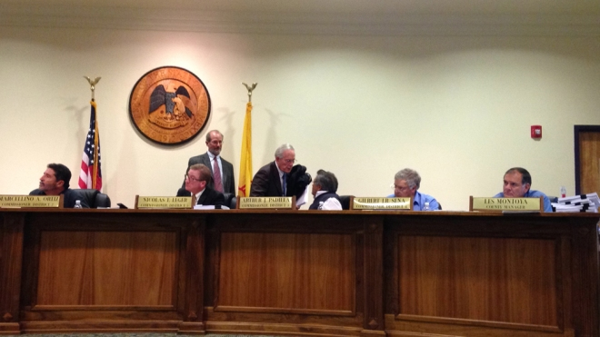 San Miguel County Board of Commissioners (L to R: Commissioner Marcellino Ortiz, Nicolas Leger, Consultant Steve Burstein, Dr. Bob Freilich, Commissioner Art Padilla, Commissioner Gilbert Sena, County Manager Les Montoya) final Oil and Gas Ordinance Public Hearing, 3 November 2014.