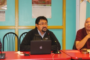 Navajo Nations Human Rights Commission Executive Director Leonard Gorman explains the purpose of the public hearing.