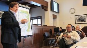 Attorney Jim Brockman and El Prado Water and Sanitation District members Telesfor Gonzales and John Painter