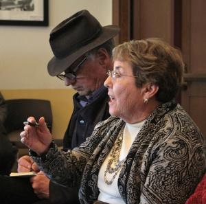Taos Friction editor Bill Whaley and Taos County Public Welfare Advisory Committee member Glorianna Atencio. Photo by Robin Collier
