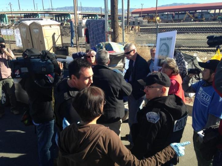 Members of ABQ Justice negotiating with APD to stop evictions. Photo by Bill Bradley