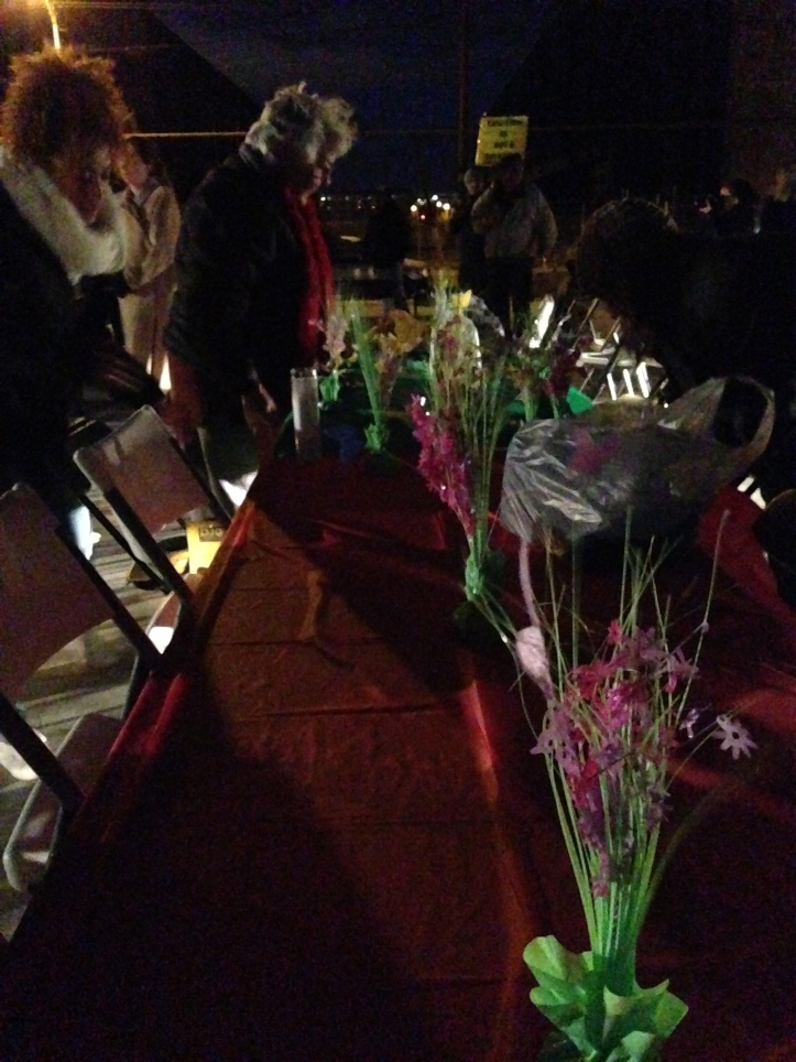 Organizers decorated the tables with tablecloths and center pieces.