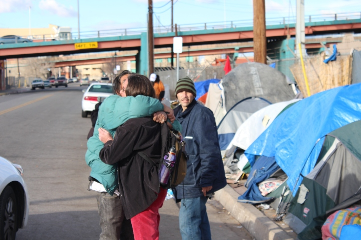 Activists from ABQ Justice have spent months working with, and defending the rights of, residents of Tent City. ABQ Justice, along with other community groups, organized a dinner at Tent City on Wednesday as a way to publicize the lack of compassion in the City's eviction plan.