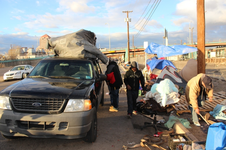 Organizers from ABQ Justice offered their vehicles to Tent City residents in order to transport tents and belongings to the new location.