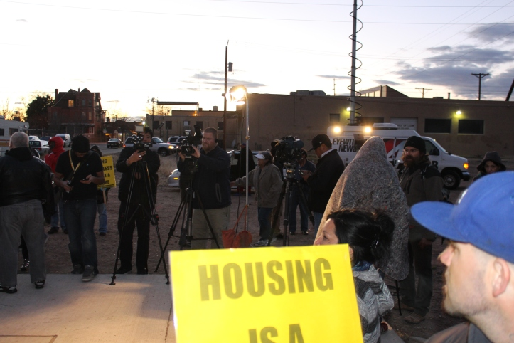 With the sun setting and the press on the scene, Vincent Saint Vincent began the press conference announcing Tent City's move to the new location.