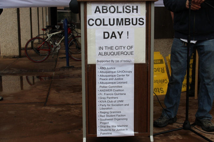The campaign to abolish Columbus Day included a long list of organizations and activists